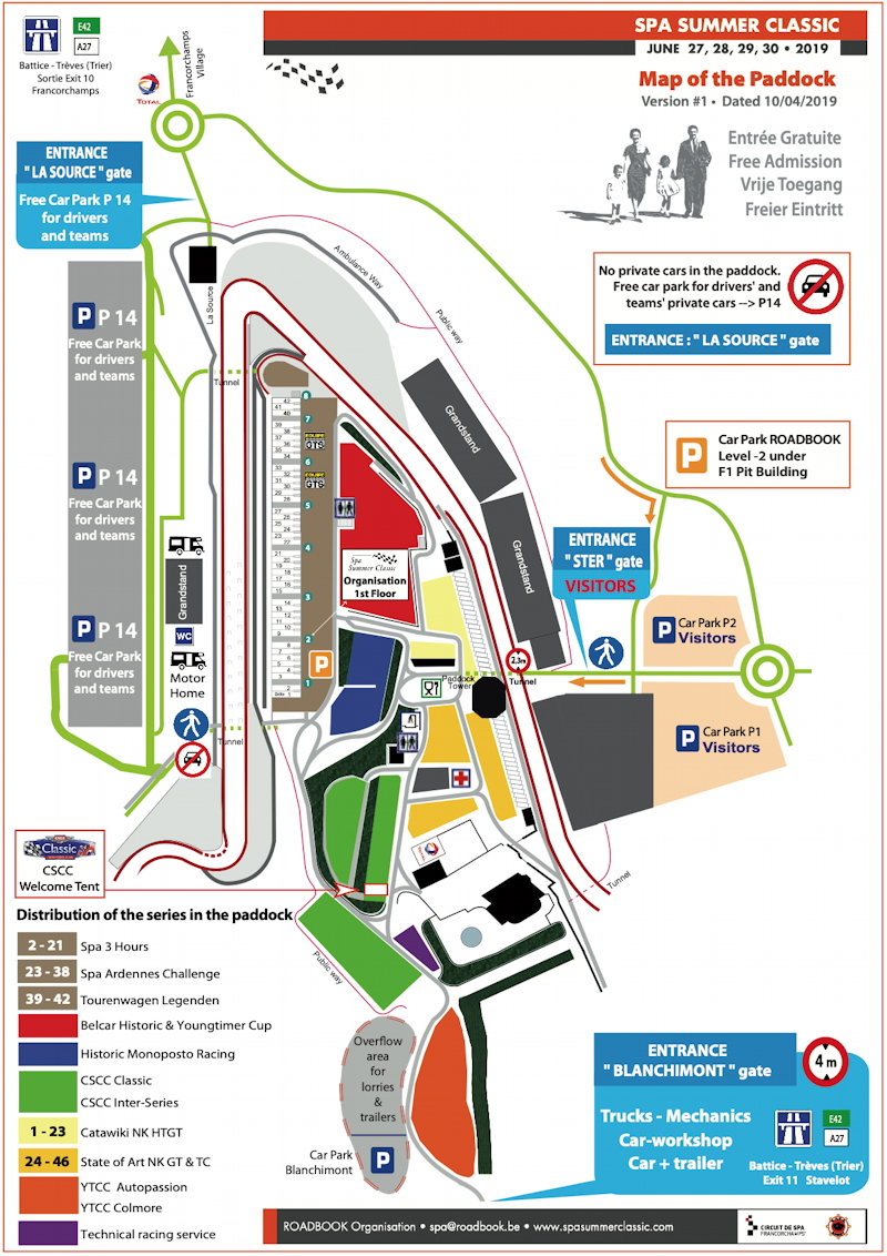 Map of the Paddocks – Spa Summer Classic 2019